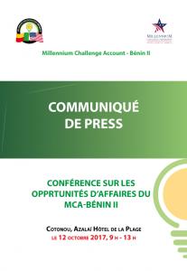 Communiqué de presse - Conférence sur les opportunités d'affaires du MCA-Bénin II