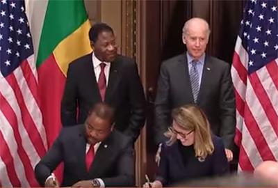 Cérémonie de signature du compact de MCA-Bénin II à Washington